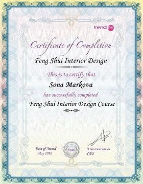 sona markova interior feng shui certificate