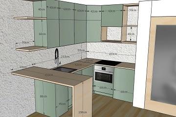 Realizace návrhu interiéru výkresy kóty kuchyně
