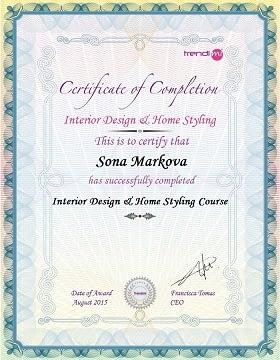sona markova interior design certificate